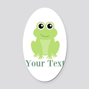 Personalizable Green Frog Oval Car Magnet