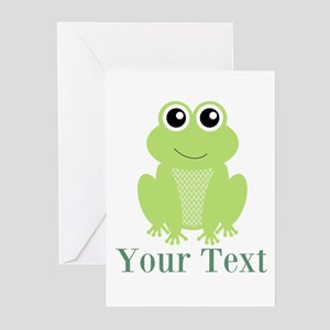 Personalizable Green Frog Greeting Cards