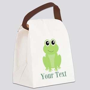 Personalizable Green Frog Canvas Lunch Bag