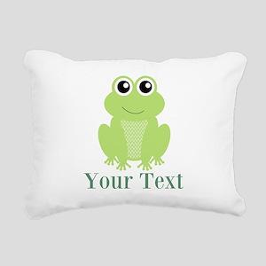 Personalizable Green Frog Rectangular Canvas Pillo