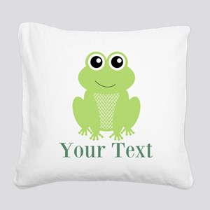 Personalizable Green Frog Square Canvas Pillow