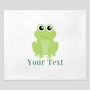 Personalizable Green Frog King Duvet