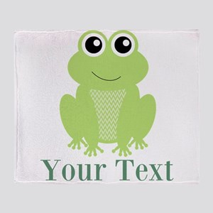 Personalizable Green Frog Throw Blanket