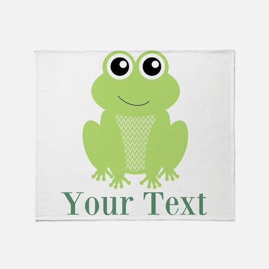 Personalizable Green Frog Throw Blanket