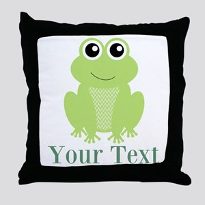 Personalizable Green Frog Throw Pillow