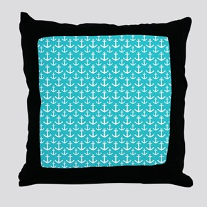 Teal and White Anchors Pattern Throw Pillow