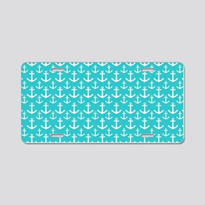 Teal and White Anchors Patt Aluminum License Plate