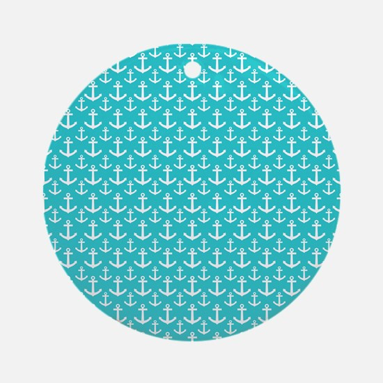 Teal and White Anchors Pattern Ornament (Round)