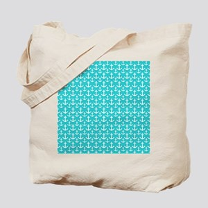 Teal and White Anchors Pattern Tote Bag