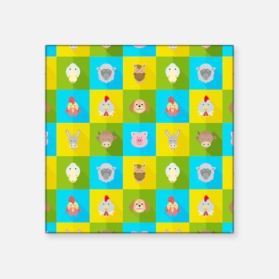 Farm Faces Square Sticker 3 x 3
