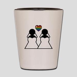 Silhouette Bride and Bride Shot Glass