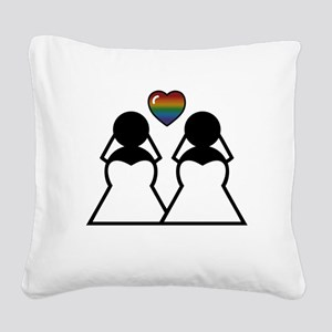 Silhouette Bride and Bride Square Canvas Pillow