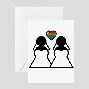 Silhouette Bride and Bride Greeting Card