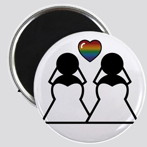 Silhouette Bride and Bride Magnet