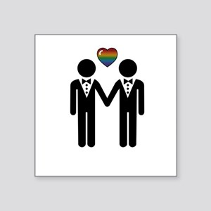 """Silhouette Groom and Groom Square Sticker 3"""" x 3"""""""