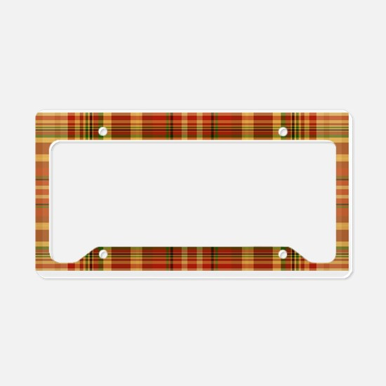 Pizza Plaid Mushroom License Plate Holder