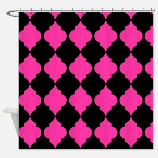 hot pink and black Moroccan quatrefoil Shower Curt