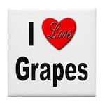 I Love Grapes Tile Coaster