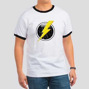 Lightning Bolt Distressed Ringer T