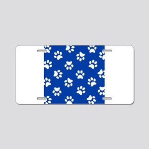 Dark Blue Pawprint pattern Aluminum License Plate