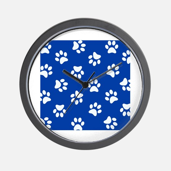 Dark Blue Pawprint pattern Wall Clock