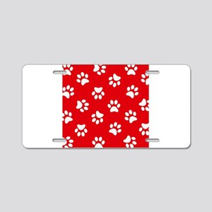Red Paw print pattern Aluminum License Plate