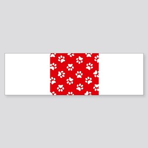 Red Paw print pattern Bumper Sticker