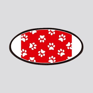 Red Paw print pattern Patches
