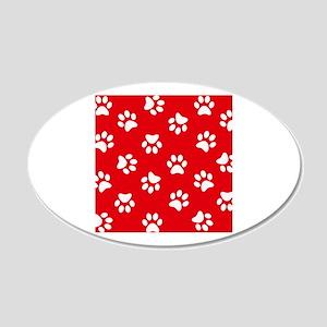 Red Paw print pattern Wall Sticker