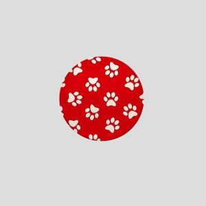 Red Paw print pattern Mini Button