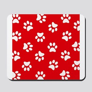 Red Paw print pattern Mousepad