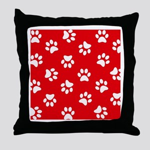Red Paw print pattern Throw Pillow