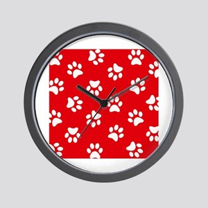 Red Paw print pattern Wall Clock