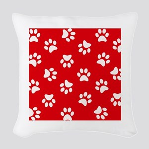 Red Paw print pattern Woven Throw Pillow