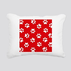 Red Paw print pattern Rectangular Canvas Pillow