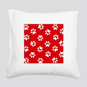 Red Paw print pattern Square Canvas Pillow
