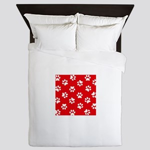 Red Paw print pattern Queen Duvet