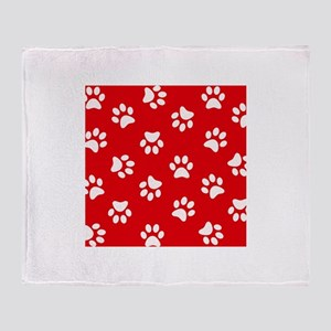 Red Paw print pattern Throw Blanket