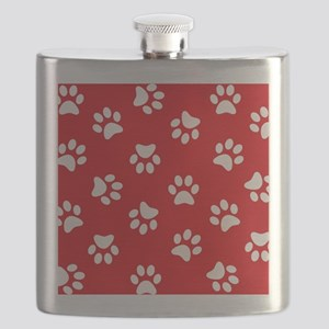 Red Paw print pattern Flask