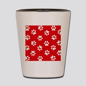 Red Paw print pattern Shot Glass