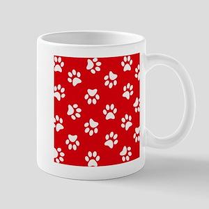 Red Paw print pattern Mugs