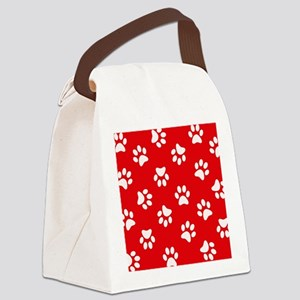 Red Paw print pattern Canvas Lunch Bag