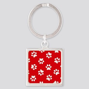 Red Paw print pattern Keychains