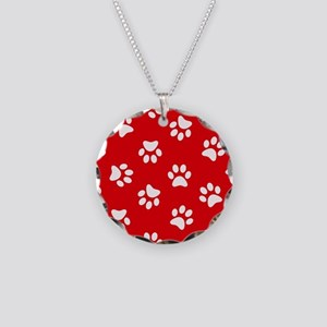 Red Paw print pattern Necklace Circle Charm