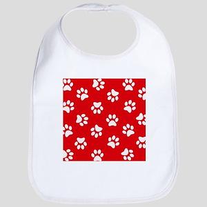 Red Paw print pattern Bib
