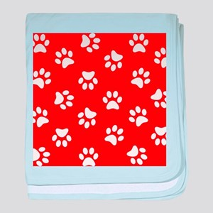 Red Paw print pattern baby blanket