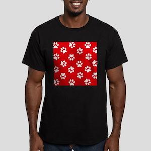 Red Paw print pattern T-Shirt