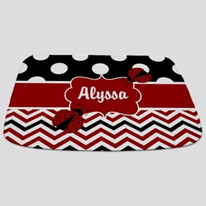 Red Black Chevron Ladybug Personalized Bathmat