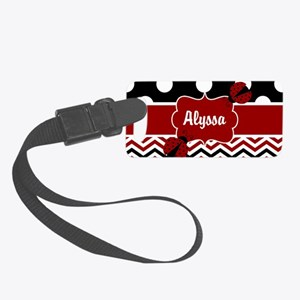 Red Black Chevron Ladybug Small Luggage Tag