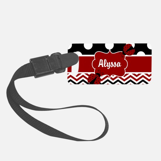 Red Black Chevron Ladybug Luggage Tag